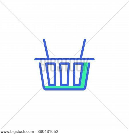 Shopping Basket Icon Vector, Filled Flat Sign, Basket Bicolor Pictogram, Green And Blue Colors. Symb