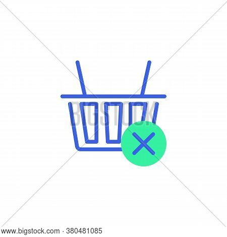 Shopping Basket With Cross Mark Icon Vector, Filled Flat Sign, Purchase Rejected Bicolor Pictogram,