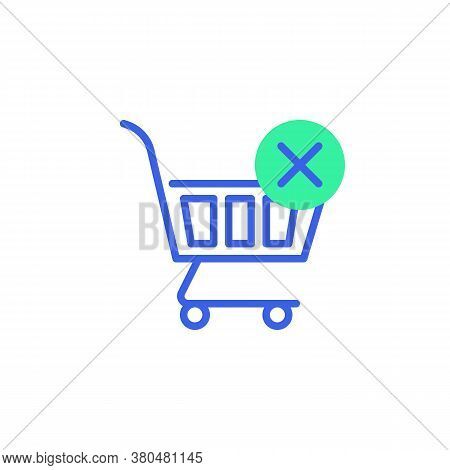 Purchase Error Icon Vector, Filled Flat Sign, Shopping Cart With Cross Mark Bicolor Pictogram, Green
