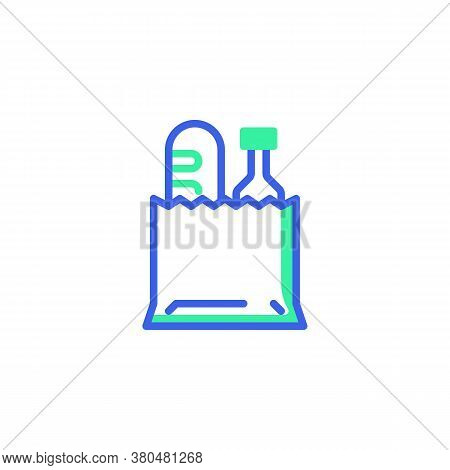 Paper Shopping Bag With Food Icon Vector, Filled Flat Sign, Food Bag Bicolor Pictogram, Green And Bl