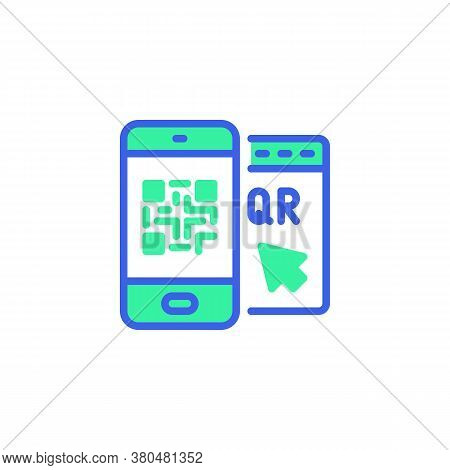 Barcode Scanner Phone Icon Vector, Filled Flat Sign, Smartphone Qr Code Bicolor Pictogram, Green And