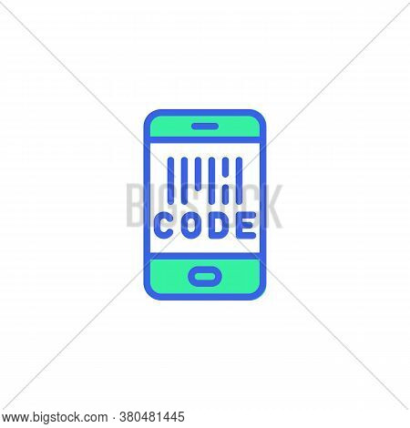 Cell Phone Screen With Barcode Icon Vector, Filled Flat Sign, Smartphone Barcode Scan Bicolor Pictog