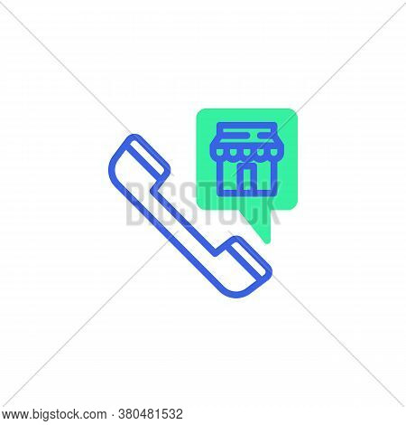 Online Shop Call Icon Vector, Filled Flat Sign, E-commerce Promotion Bicolor Pictogram, Green And Bl