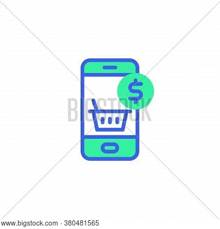 Mobile Phone Screen With Payment Transaction Icon Vector, Filled Flat Sign, Online Shopping Payment