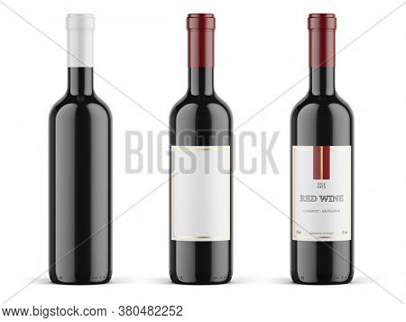Bottle of red wine isolated on white background. 3d mockup red wine bottle - 3d rendering