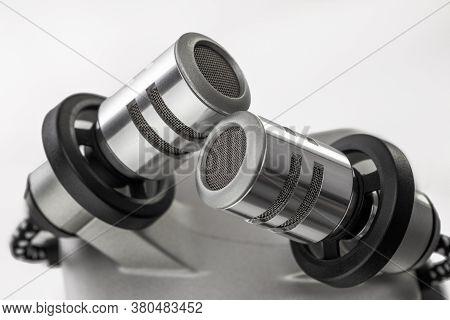 Dictaphone Digital Voice Recording. Portable Audio Digital Voice Recorder Dictation Isolated On Whit