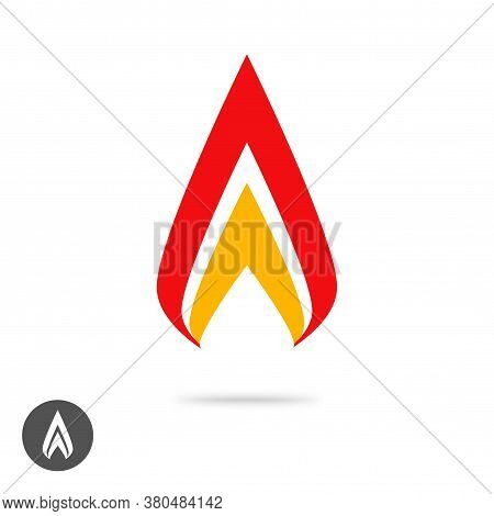 Logo Flame Fire Geometric Or Spear Sharp Logotype Icon Vector Flat Cartoon, Energy Ignite Blaze Abst