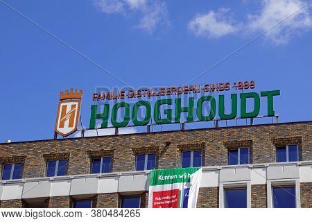 Groningen, The Netherland - July 26, 2020: Green Hooghoudt Sign Against A Blue Sky. Hooghoudt Is A D