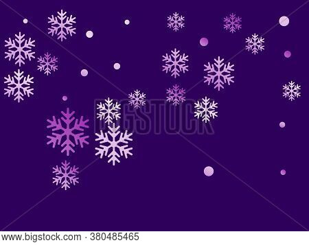 Crystal Snowflake And Circle Elements Vector Graphics. Cool Winter Snow Confetti Scatter Poster Back