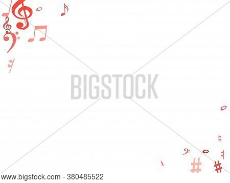 Red Flying Musical Notes Isolated On White Background. Fresh Musical Notation Symphony Signs, Notes