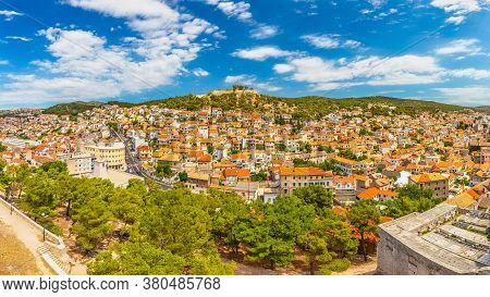City Skyline Of Sibenik With The Barone Fortress. An Ancient Town On The Dalmatian Coast Of Adriatic