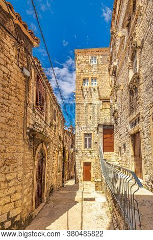 Street With A Historic Architecture In Sibenik. An Ancient City On The Dalmatian Coast Of Adriatic S