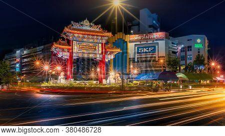 Bangkok China Town, Thailand - August 01, 2020 - Odeon Circle The Arch Gateway To Bangkok China Town