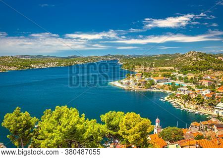 Sea Bay Near Sibenik, An Ancient City On The Dalmatian Coast Of Adriatic Sea In Croatia, Europe.