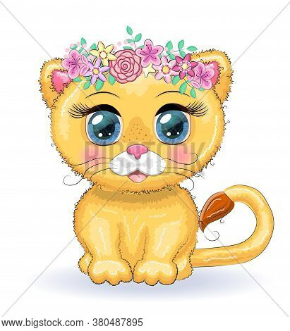 Cute Cartoon Lioness With Big Eyes In A Bright Childrens Style Among Flowers, Hearts, Wreaths
