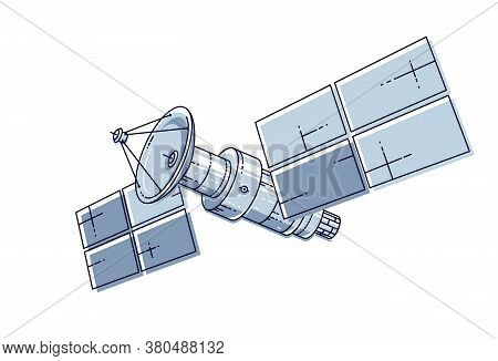 Artificial Orbital Satellite Floating In Weightlessness In Open Space, Spacecraft Space Station, Sci