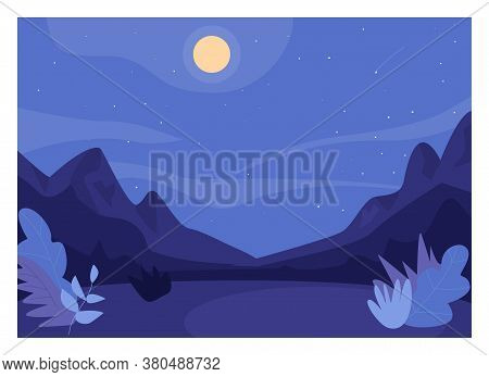 Nighttime Forest Clearing Flat Color Vector Illustration. Romantic Night In Woods. Place For Hiking
