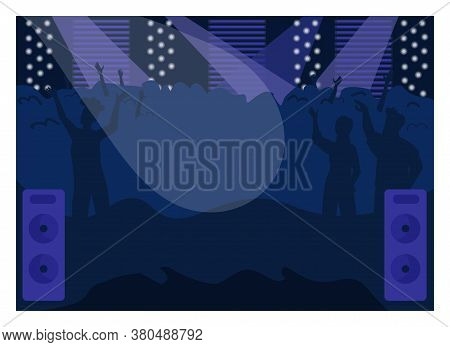 Nightclub Flat Color Vector Illustration. Fun Party. Musical Event. Show On Stage, People Enjoy Conc