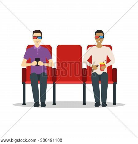 Cartoon Characters People In Cinema Theatre Showtime Concept Flat Design Style. Vector Illustration