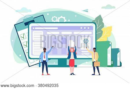 Concept Of Document Management In Business Company. Vector Illustration. Paperwork In Business Compa