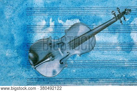 Vintage Violin On A Sheet Music Background. Old Music Sheet In Blue Watercolor Paint And Violin.