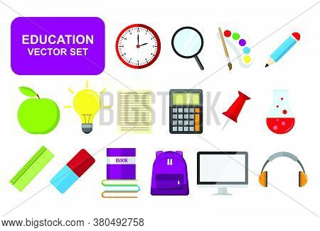 Stationery And Education Flat Design Icon Set, Business And Communication, E-book And E-learning, Si