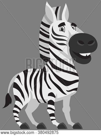 Standing Zebra Three Quarter View. African Animal In Cartoon Style.