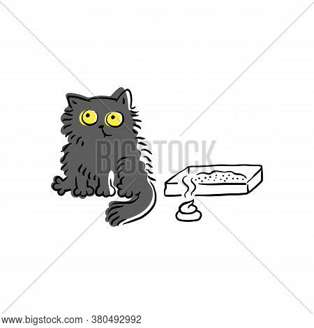 Funny Cartoon Cat Sitting Next To Litter Box With Poop On The Floor