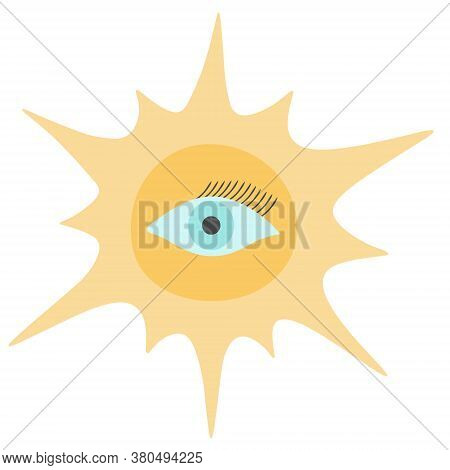 The Sun And An Eye With Lashes. Boho Style. Magic Symbol Of Clairvoyance. Vector Illustration. Isola