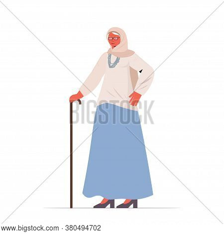 Old Woman In Casual Trendy Clothes With Cane Senior Female Cartoon Character Standing Pose Gray Hair