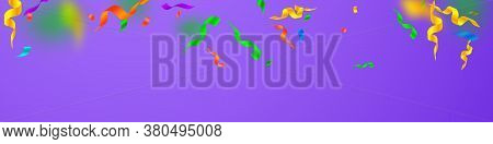 Streamers And Confetti. Festive Streamers Tinsel And Foil Ribbons. Confetti Gradient On Violet Backg