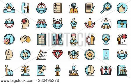 Headhunter Icons Set. Outline Set Of Headhunter Vector Icons Thin Line Color Flat On White