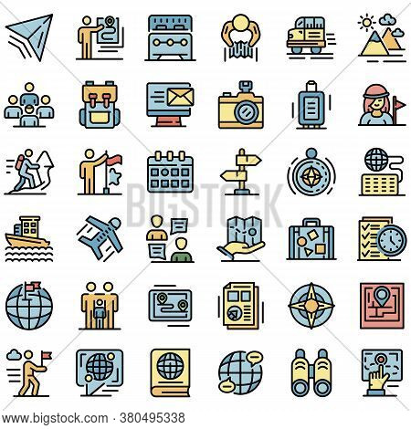 Guide Icons Set. Outline Set Of Guide Vector Icons Thin Line Color Flat On White