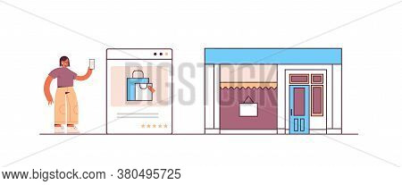 Woman Using Smartphone Application For Online Shopping Ordering And Paying E-commerce Smart Purchasi