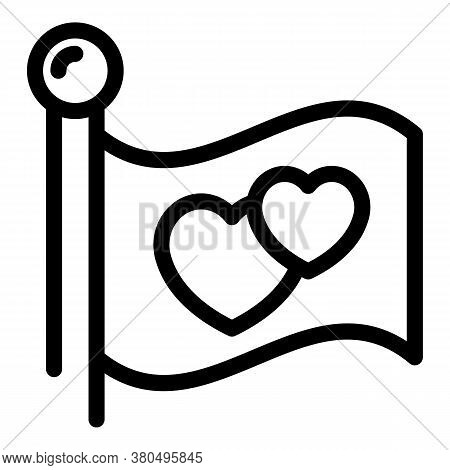Heart Flag Empowerment Icon. Outline Heart Flag Empowerment Vector Icon For Web Design Isolated On W