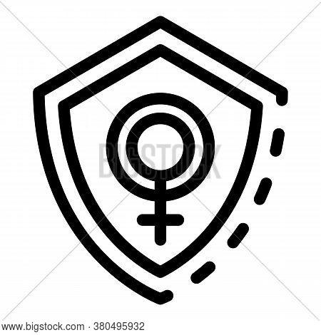 Woman Empowerment Shield Icon. Outline Woman Empowerment Shield Vector Icon For Web Design Isolated