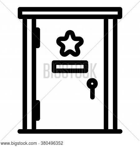Star Door Dressing Room Icon. Outline Star Door Dressing Room Vector Icon For Web Design Isolated On