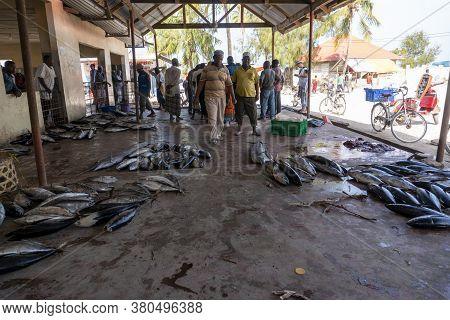 Nungwi, Zanzibar, Tanzania, Africa - January 2020: Fish Market In Nungwi Village, People Are Buying