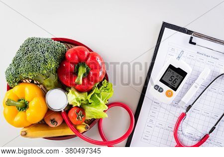 World Diabetes Day And Healthcare Concept. Patient's Blood Sugar Control, Diabetic Measurement, And