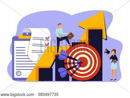 Discipline Vector Illustration. Flat Tiny Self Control System Persons Concept. Abstract Target And T
