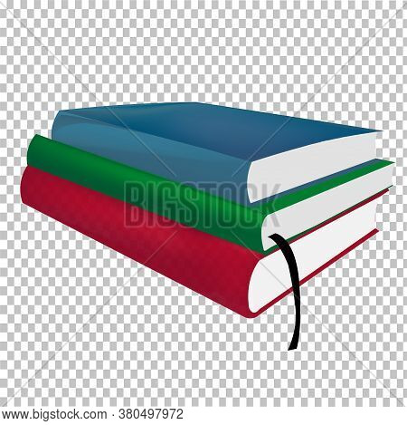 Three multi-colored hardback textbooks  with a bookmark on a transparent background. Education concept. Textbooks for studying the subject Vector image.