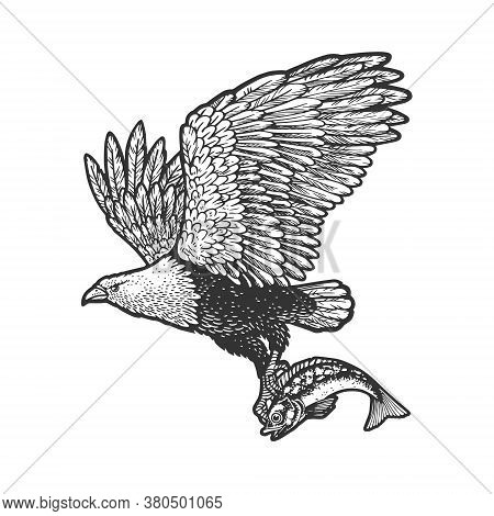Eagle Carries The Fish Sketch Engraving Vector Illustration. T-shirt Apparel Print Design. Scratch B