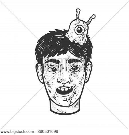 Man With Brain Slug Sketch Engraving Vector Illustration. T-shirt Apparel Print Design. Scratch Boar