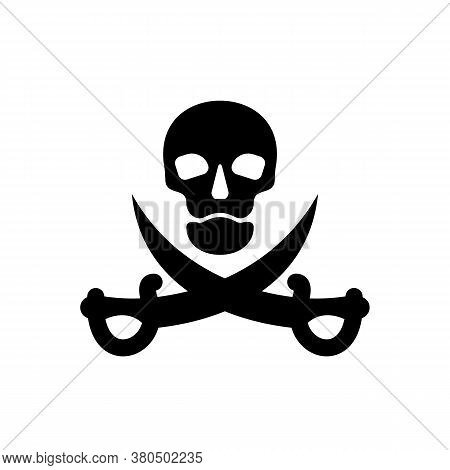 Human Skull In Full Face And Crossed Sabers. Pirate Sign And Symbol For Design. Isolated Illustratio