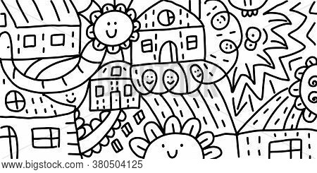 Doodle Art. Decorative Doodles Pattern. Abstract Houses, Streets, Flowers. Hand-drawn Vector Black A