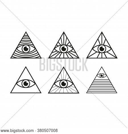 Eye In Triangle Set. All Seeing Eye Pyramid Collection. Illuminati Mason Symbol Isolated Vector Illu