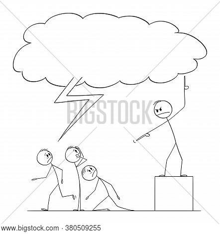 Vector Cartoon Stick Figure Drawing Conceptual Illustration Of Apocalypse, Hellfire And Brimstone Pr