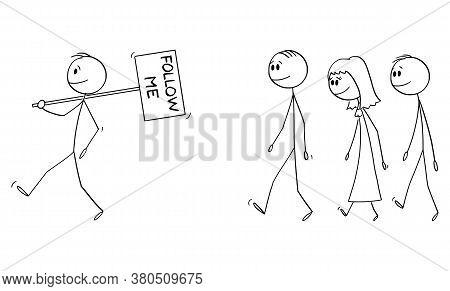 Vector Cartoon Stick Figure Drawing Conceptual Illustration Of Man, Leader, Manager Or Businessman L