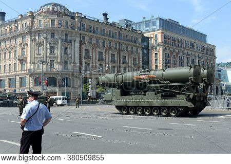Moscow, Russia - June 20, 2020:s-300v4 Anti-aircraft Missile System On The Street During The Dress R