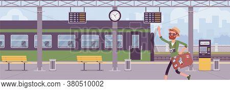Man Missing Train, Hurrying At Trainstation. Male Tourist, Unfortunate Passenger Running In Railway